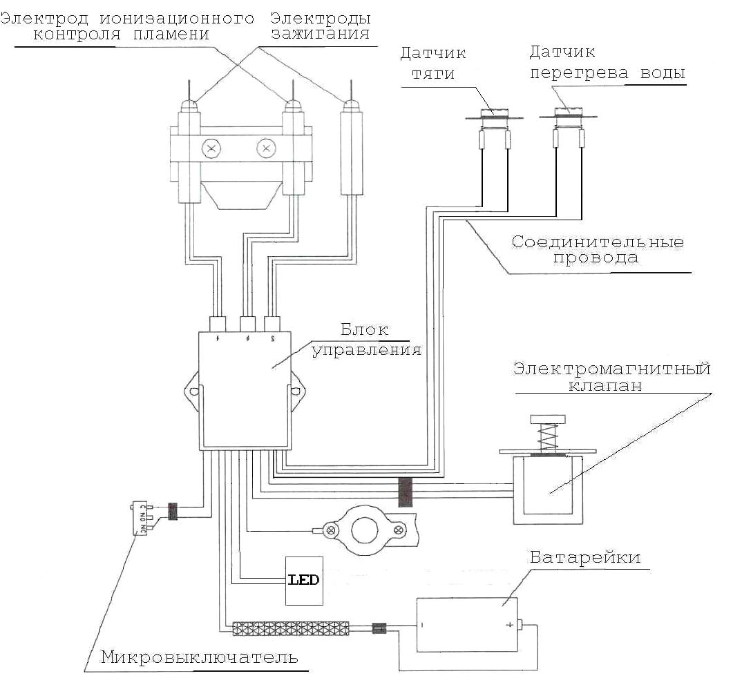 Электрическая схема газового водонагревателя